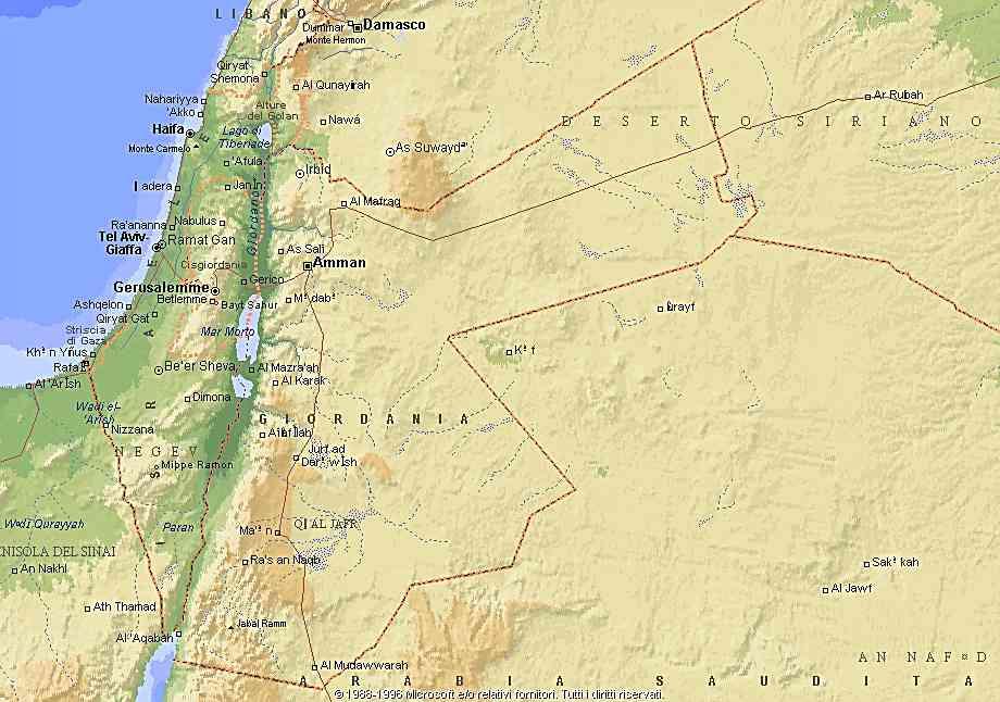 Cartina Di Israele E Giordania.Giordania